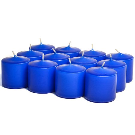 Unscented Royal Blue Votives 10 Hour Votive Candles Pack: 12 per box 1.5 in. diameter x 1.25 in. tall