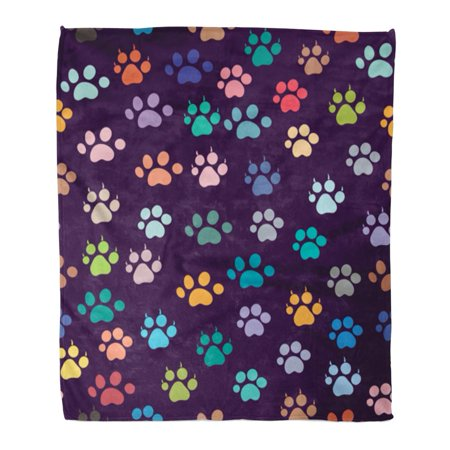 ASHLEIGH Flannel Throw Blanket Colorful Paw Footprint Abstract Bear Black Cartoon Cat Soft for Bed Sofa and Couch 58x80 Inches ()
