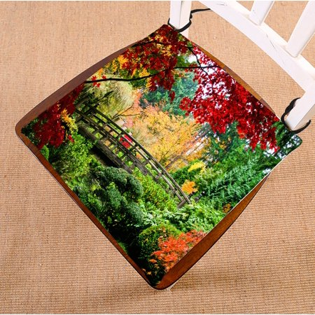 PHFZK Asian Chair Pad, Bridge in Japanese Garden during Fall Season Seat Cushion Chair Cushion Floor Cushion Two Sides Size 16x16 inches ()