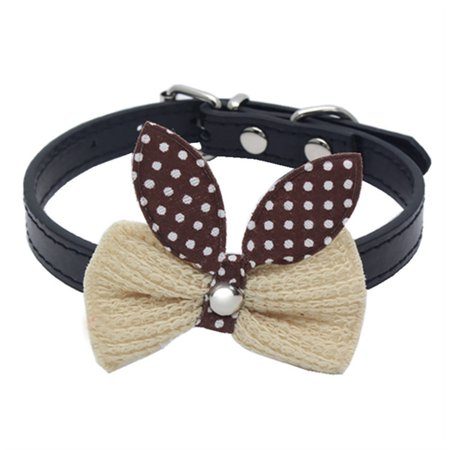 Knit Bowknot Adjustable Leather Dog Puppy Pet Collars Necklace - Knit Mandarin Collar