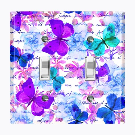 Metal Light Switch Plate Outlet Cover (Butterfly Rose Purple - Double Toggle)