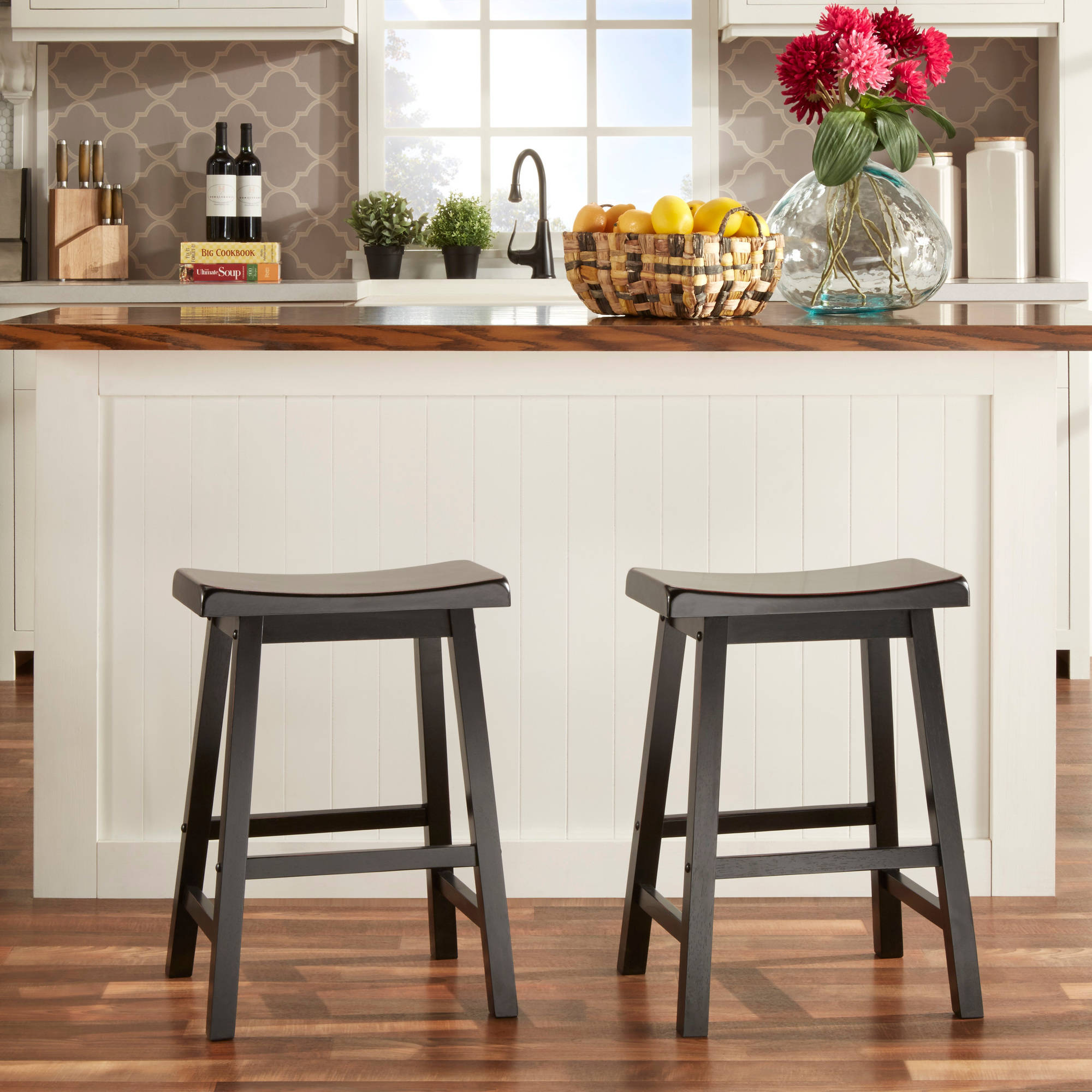 "Ashby Counter Stools 24"", Set of 2, Black Rubbed"