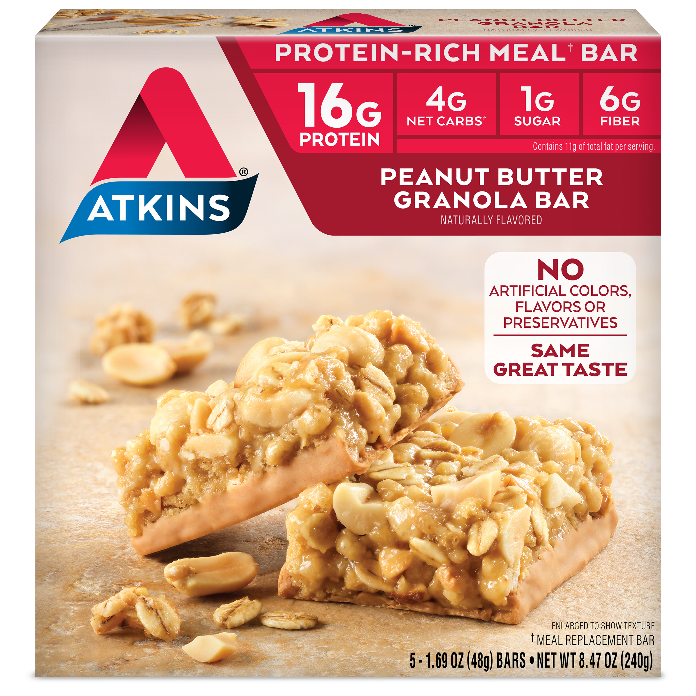 Atkins Peanut Butter Granola Bar, 1.7 oz, 5-pack (Meal Replacement)