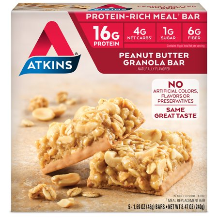 Atkins Peanut Butter Granola Bar, 1.69oz, 5-pack (Meal Bar)
