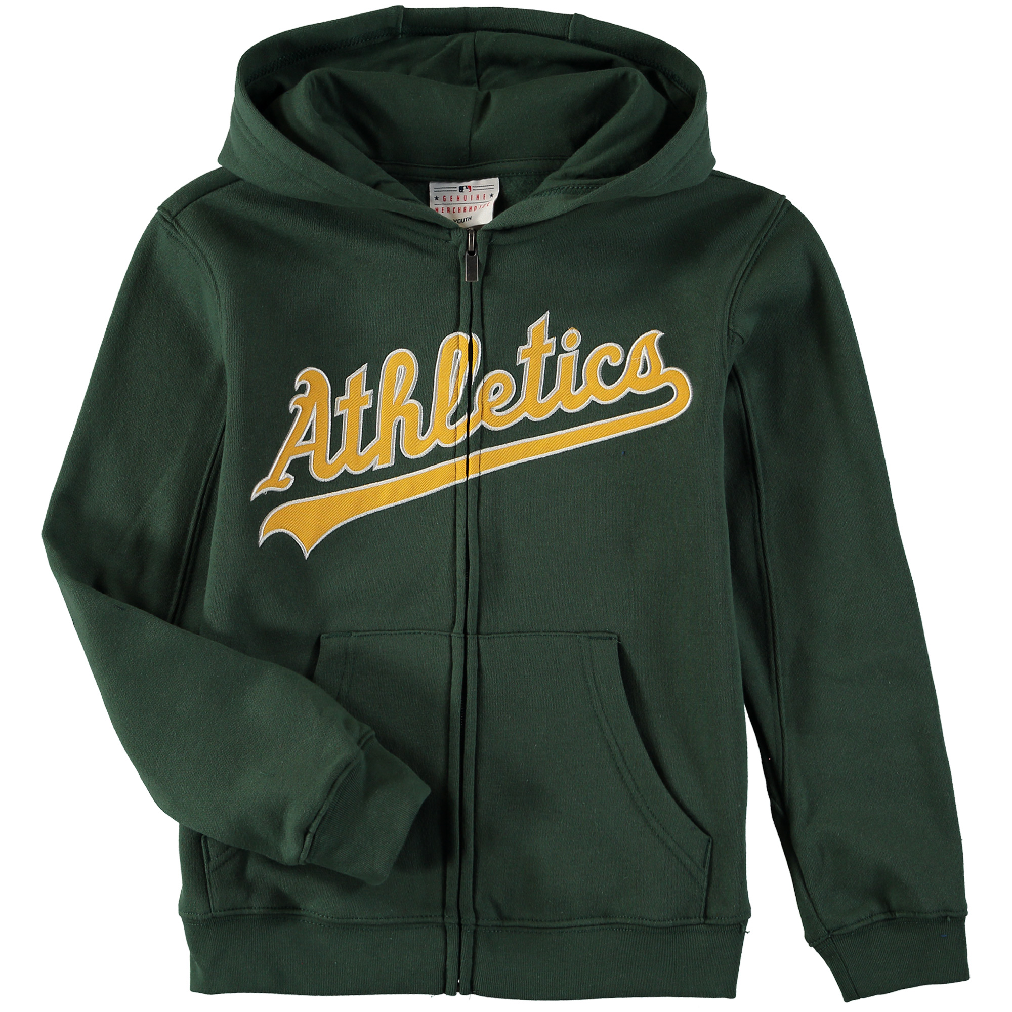Oakland Athletics Youth Wordmark Full-Zip Hoodie - Green