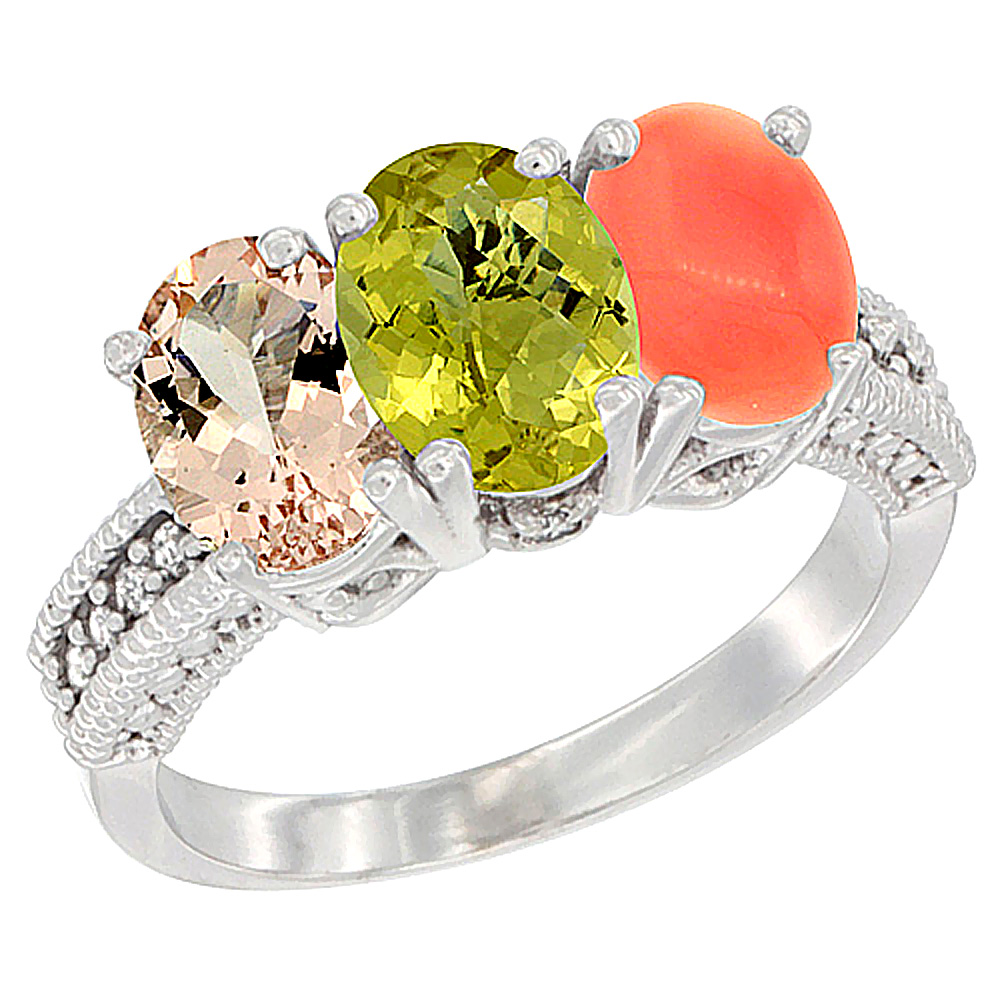 10K White Gold Natural Morganite, Lemon Quartz & Coral Ring 3-Stone Oval 7x5 mm Diamond Accent, sizes 5 - 10