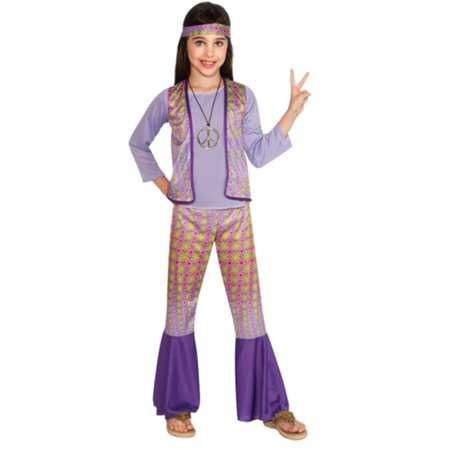 Girls hippie Chick Child Halloween Costume 70's Woodstock - Childs Hippie Costume