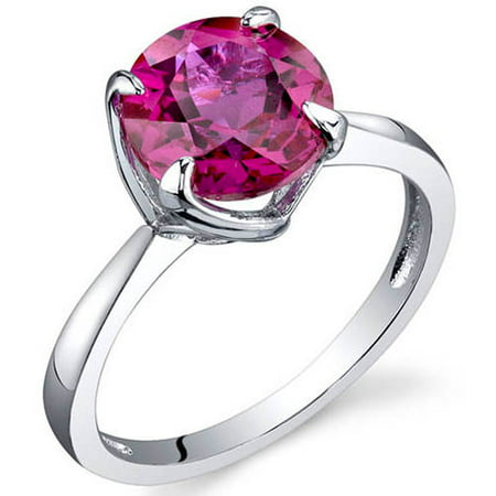 2.25 ct Round Red Created Ruby Solitaire Ring in Sterling Silver Round Ruby Solitaire