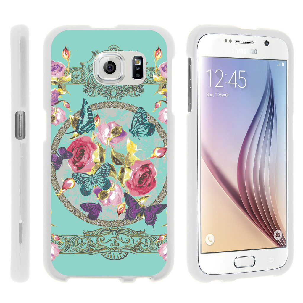 Samsung Galaxy S6 Edge G925, [SNAP SHELL][White] Hard White Plastic Case with Non Slip Matte Coating with Custom Designs - Royal Flowers and Butterfly