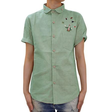 News men 39 s button up short sleeve round hem shirt khaki s for Khaki button up shirt