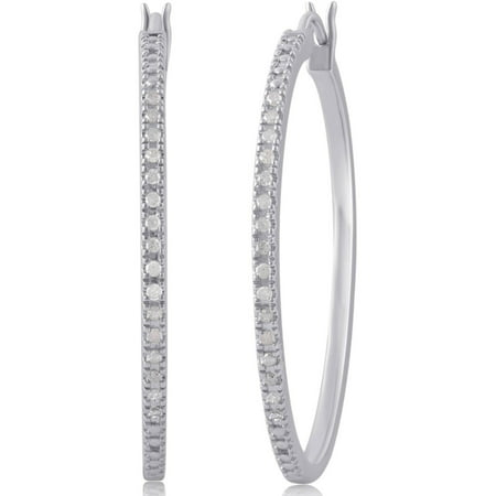 1/4 Carat T.W. Diamond Sterling Silver Hoop Earrings