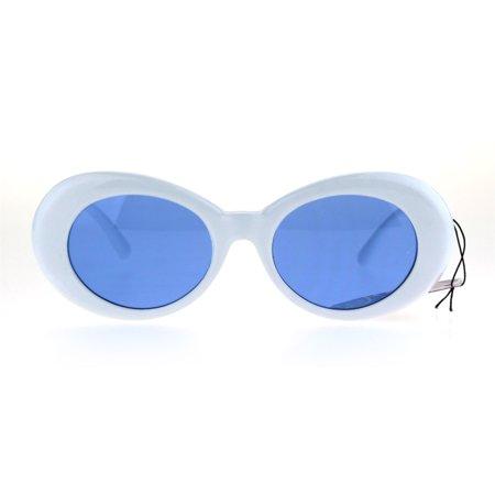Color Lens Retro Mod Oval Round Minimal White Frame Sunglasses Blue
