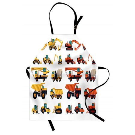 Construction Apron Set of Construction Machinery and Equipment Transportation Careers Mechanics, Unisex Kitchen Bib Apron with Adjustable Neck for Cooking Baking Gardening, Multicolor, by (Mechanix Apron)