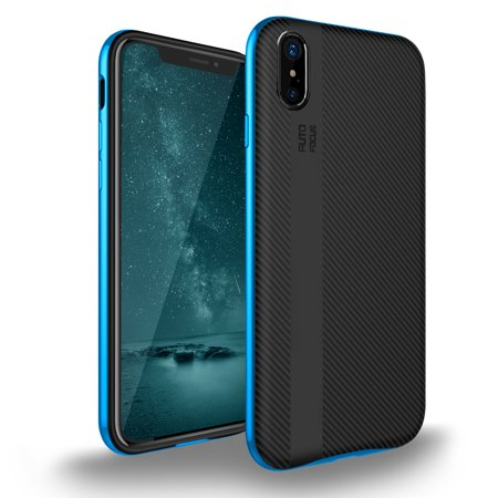 iPhone X Case, iPhone Xs Case, Cellularvilla Ultra Slim Hybrid Armor Carbon Fiber Texture Soft TPU Protective Case Anti Slip Scratch Resistant Shockproof Hard Bumper Cover For Apple iPhone X