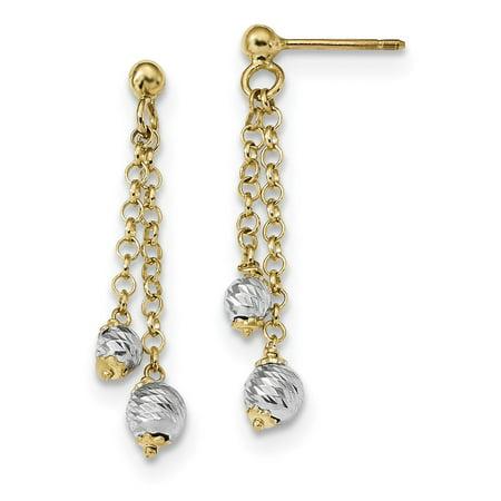 14k Two-tone Gold Polished and D/C Fancy Beaded Dangle Post (Dangle Chain Fancy Earrings)