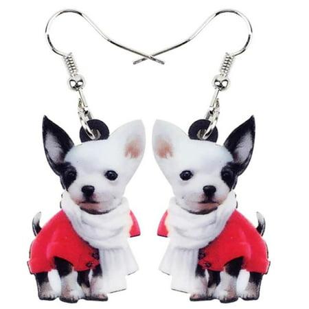 Chihuahua Boy Puppy Dog Acrylic Print Dangle Hook Earrings Ginger Lyne Collection (Puppy Dangle Earrings)
