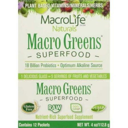 MacroLife Naturals Greens Superfood Powder, 4.0 Oz, 12 Ct