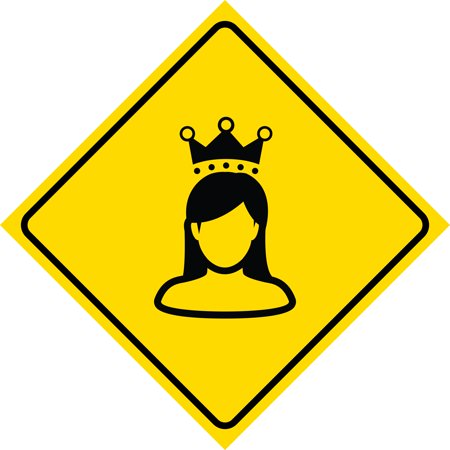 Aluminum Yellow Diamond Caution Princess Queen Crossing Signs Commercial Metal 12X12 Square Sign