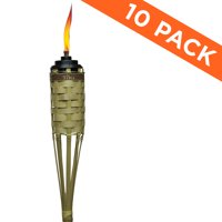 TIKI Brand 57-inch Barbados Bamboo Torch with Easy Pour System Natural 10-pack
