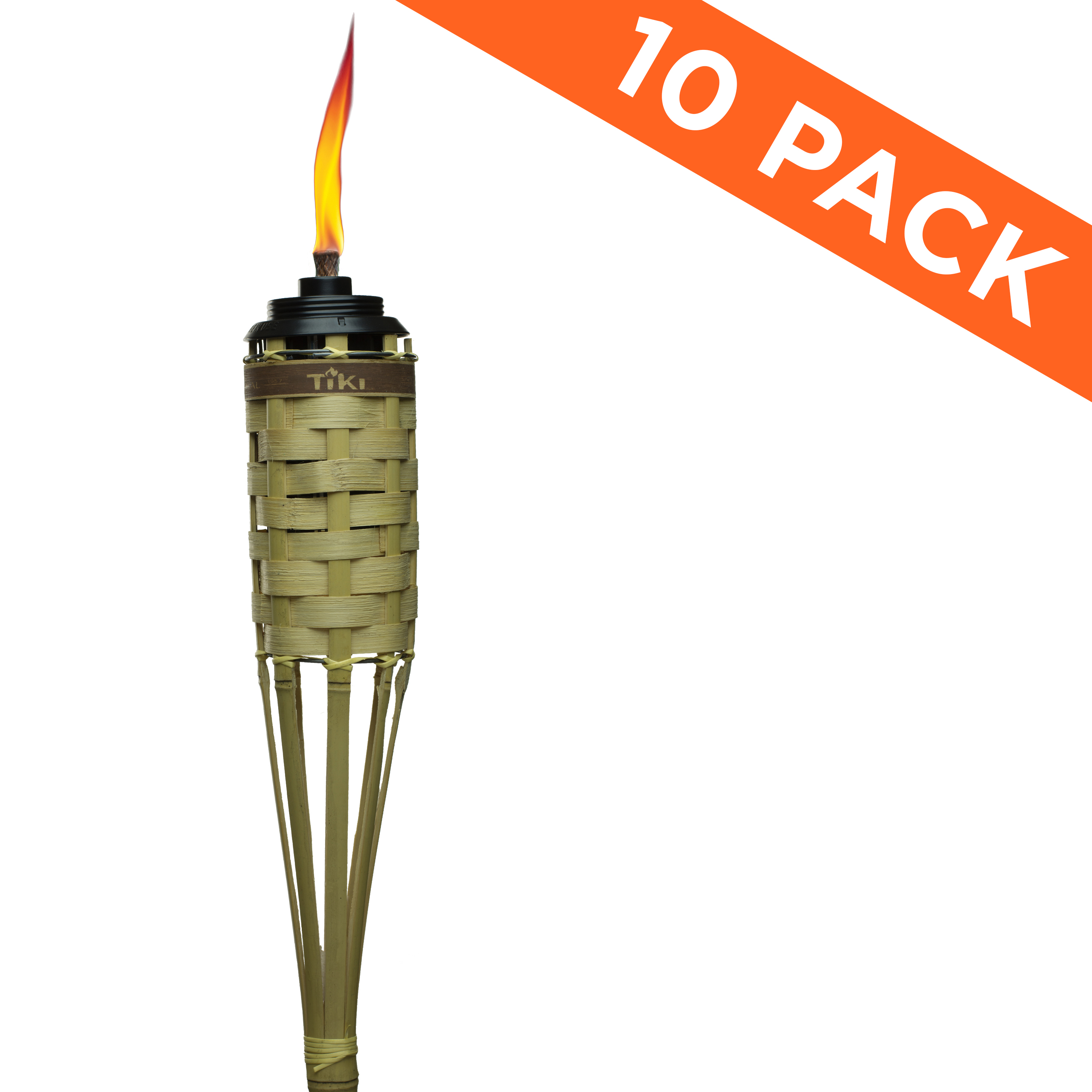 TIKI® Brand 57-inch Barbados Bamboo Torch with Easy Pour System Natural 10-pack