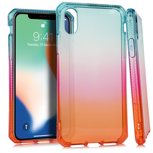 MUNDAZE Red Blue Ombre Deluxe TPU Flexible Case For Apple iPhone X Phone