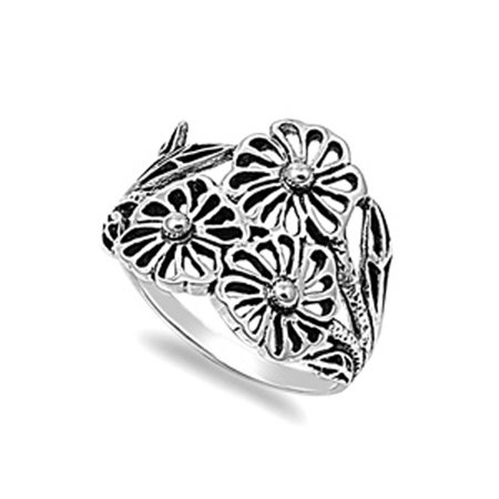- Filigree Wide Flower Leaf Floral Ring ( Sizes 5 6 7 8 9 10 11 ) New .925 Sterling Silver Band Rings by Sac Silver (Size 11)