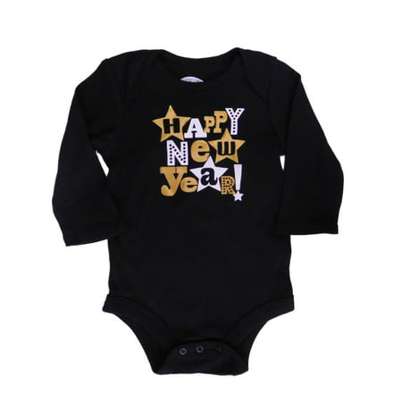Infant Boys Black & Gold Happy New Year Bodysuit Holiday Creeper
