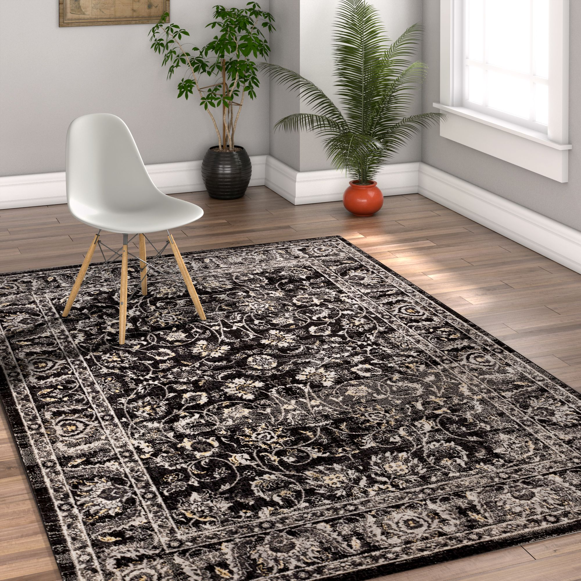 Well Woven Amba Sonoma Traditional Distressed Charcoal Area Rug