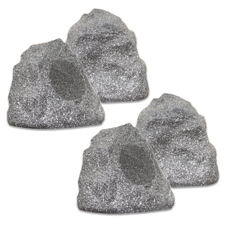 Theater Solutions 4R4G Outdoor Granite Rock 4 Speaker Set for Deck Pool Spa Patio (Theater Set)