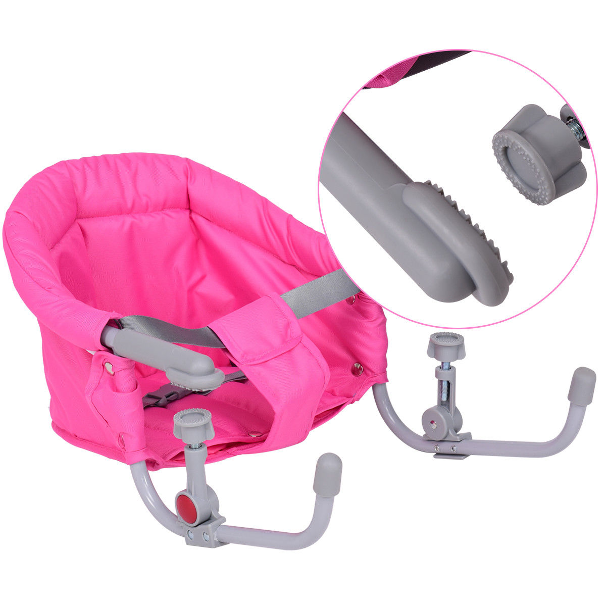 Gymax Pink Foldable Baby Hook On Chair Booster Fast Table Chair Portable Carrying Bag