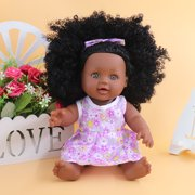 """11.81"""" Baby Girls Doll Silicone Kids Toys Gift Vinyl Silicone Baby Black Skin Girl Doll with Dress"""
