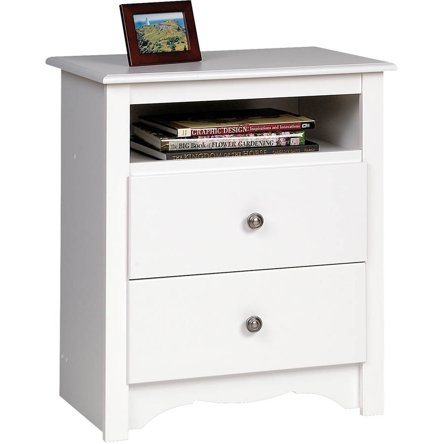 Costway Set Of 2 Night Stand 2 Layer 1 Drawer Bedside End Table Organizer  Wood W/Basket   Walmart.com