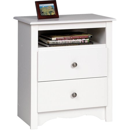 Prepac Monterey Collection Tall 2 Drawer Nightstand White