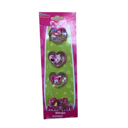 Minnie Heart Shaped Plastic Rings 4 Pc Party Favor