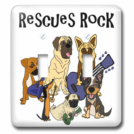 3dRose Cool fun Rescue Dogs Rock with pug, Mastiff, Dachshund - Double Toggle Switch