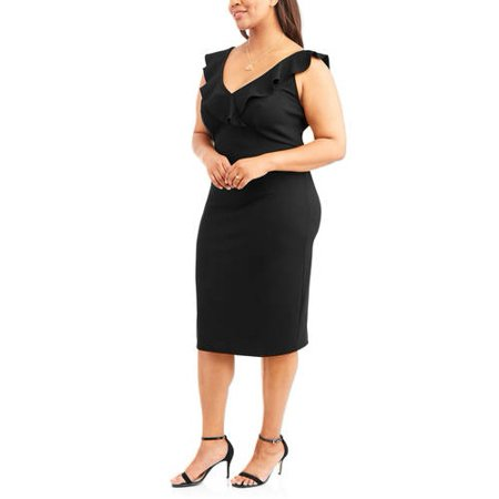 LOVE SQUARED Womens Black Ruffled Sleeveless Midi Wear To Work Dress Plus  Size: 2X (Plus Size Club Dresses 2x)