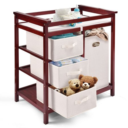 Cherry Baby Changing Table - Costway Cherry Infant Baby Changing Table w/3 Basket Hamper Diaper Storage Nursery