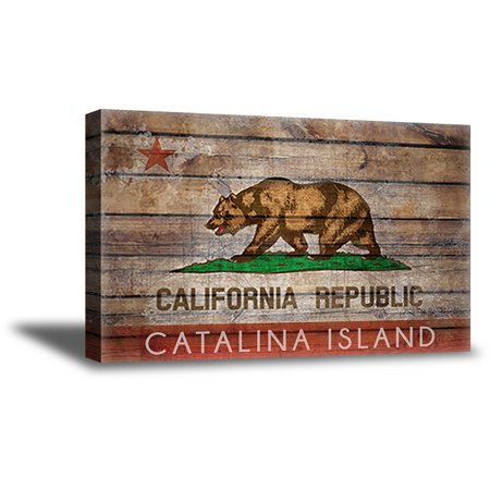Awkward Styles California Flag Framed Canvas Wall Art Bear Canvas Prints Republica de California Wall Art Santa Catalina Island Digital Art Bear Flag Canvas Decor Made in USA Ready to Hang Picture ()