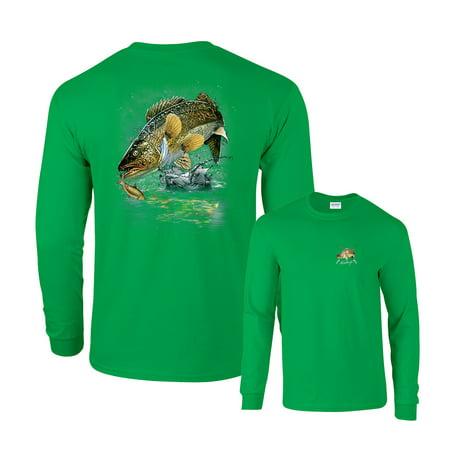 Jumping Walleye Fishing Long Sleeve (Walleye Fishing T-shirt)