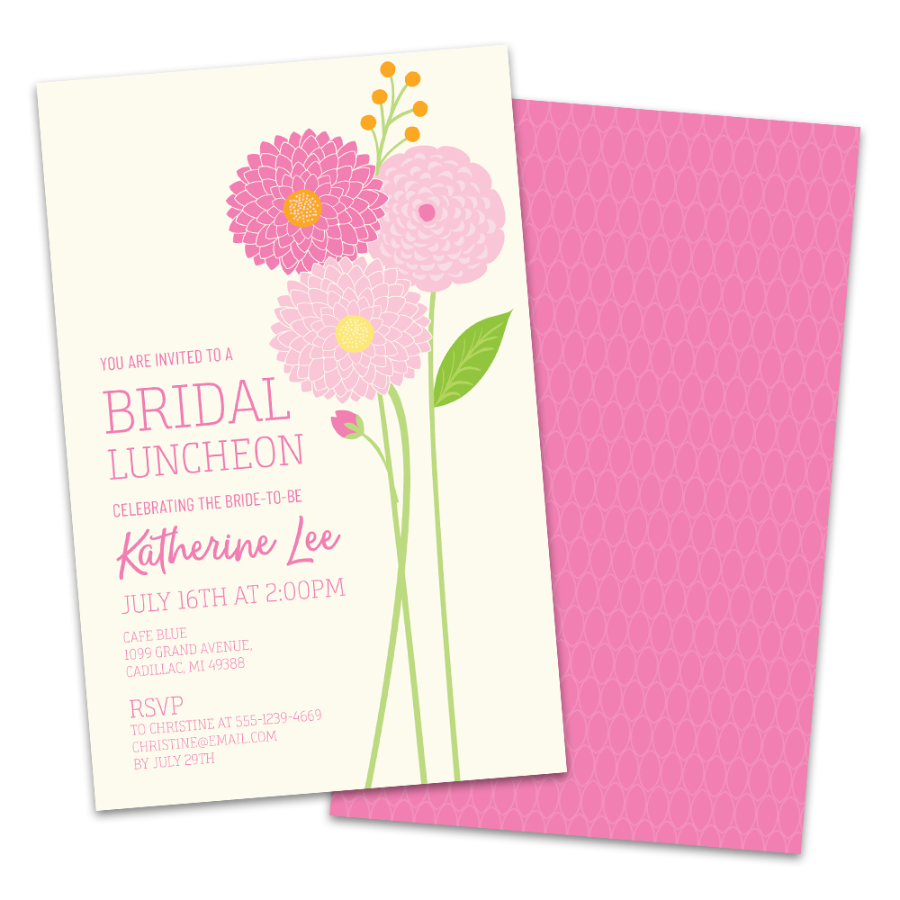 Personalized Floral Dahlias Bridal Luncheon Invitations
