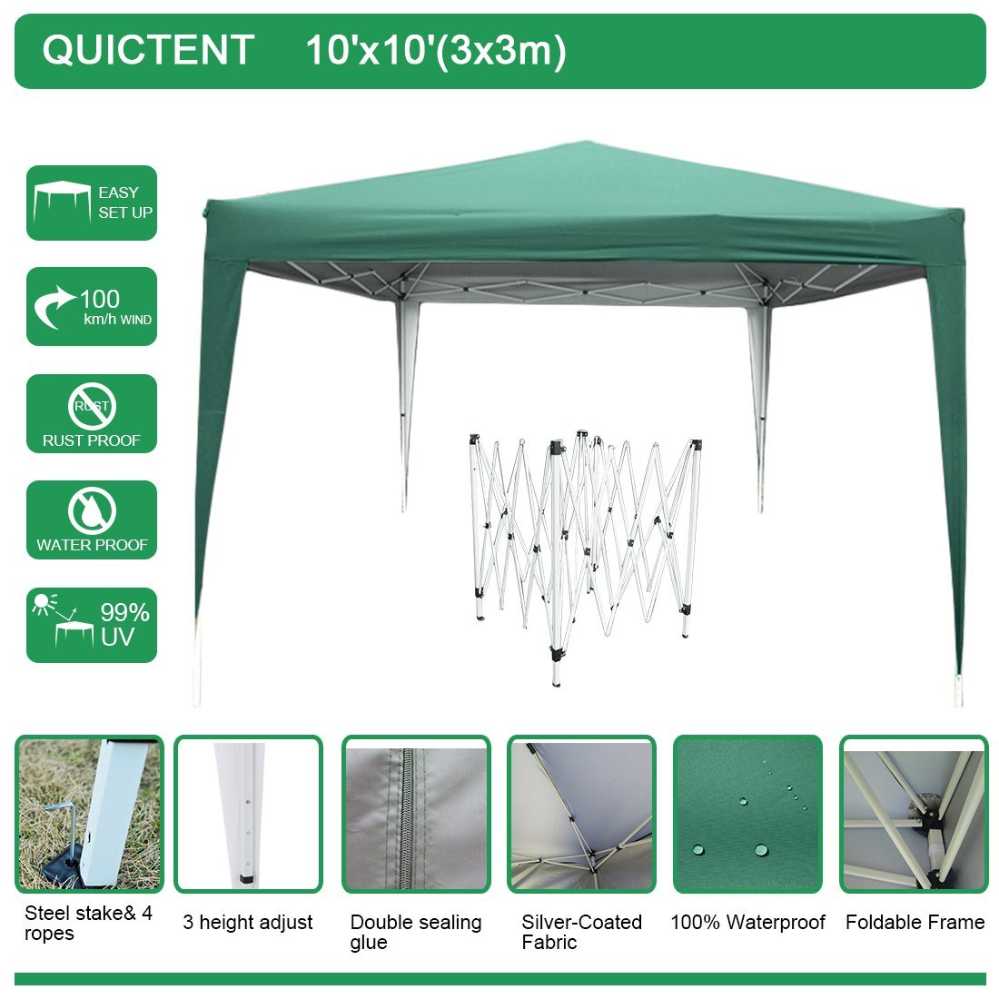 quictent easy pop up canopy 10x10 feet party tent beach gazebo heavy