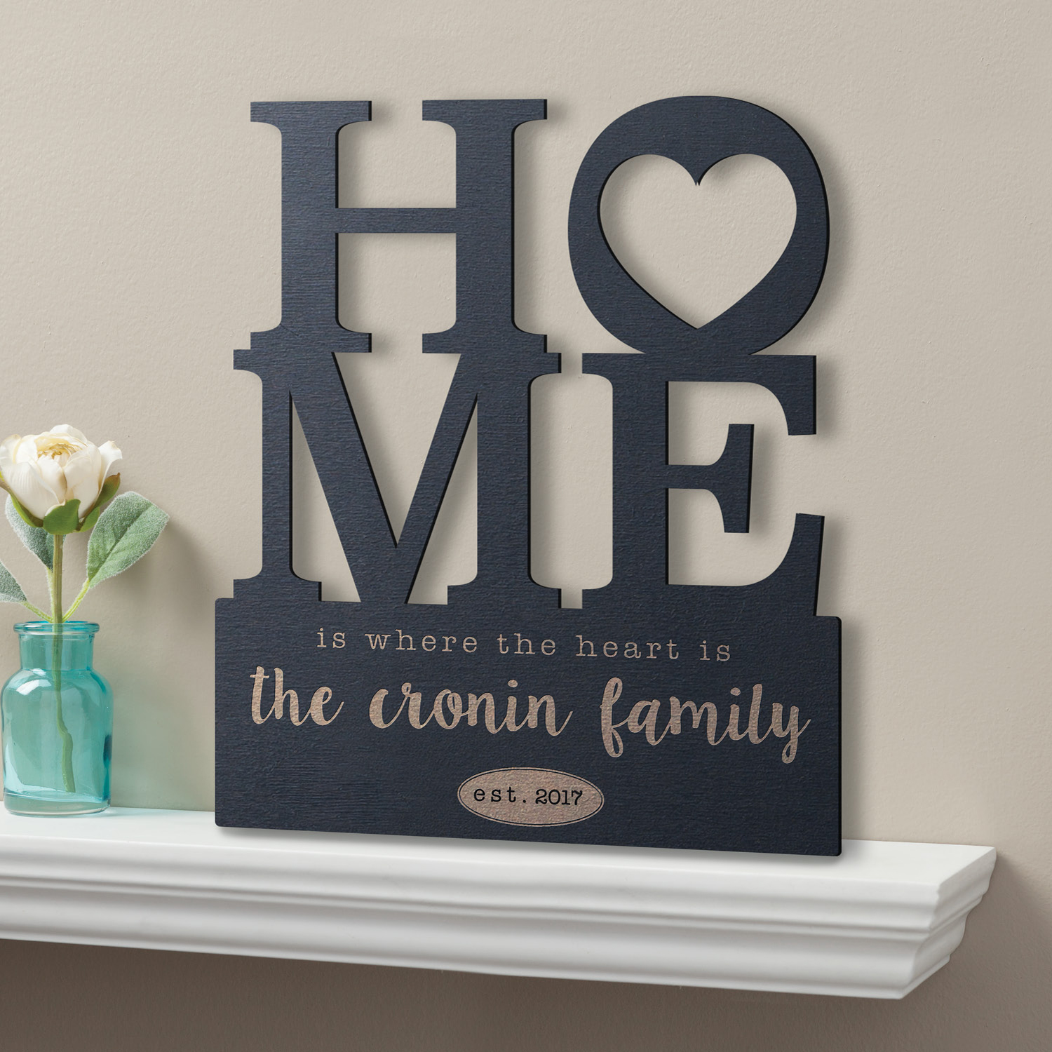 Personalized Black Wood Plaque - Home Is Where The Heart Is
