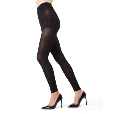 MeMoi Completely Opaque Control Top Footless Tights | MeMoi Women's Hosiery Large/XLarge / Black MO 343