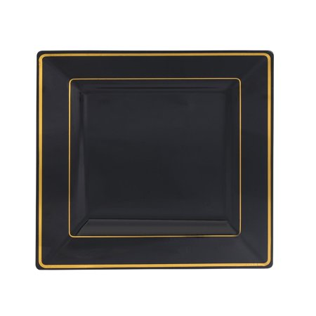 Kaya Collection - Disposable Black with Gold Rim Plastic Square 9.5