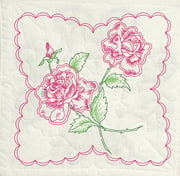 Stamped Quilt Blocks, Roses with Heart Background, 6pk