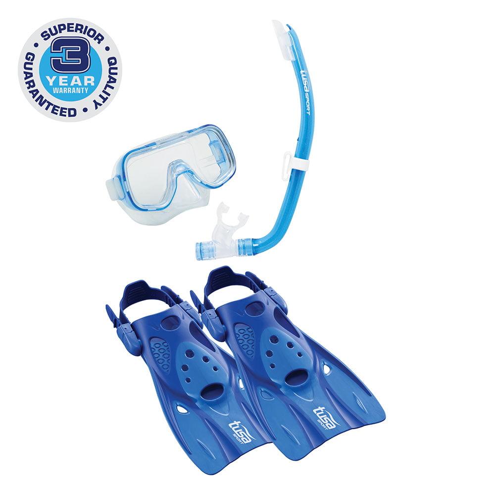 TUSA Sport Youth Mini-Kleio Hyperdry Mask, Snorkel, & Fin Travel Set, Blue, Medium by Tabata USA, Inc.