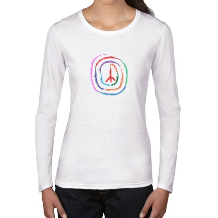 Peace Symbol In Colorful Concentric Spiral Circles Womens Long