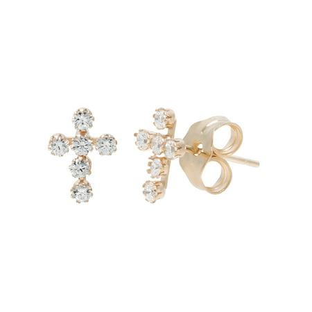 - Girls' 14kt Yellow Gold Clear CZ Cross Stud Earrings