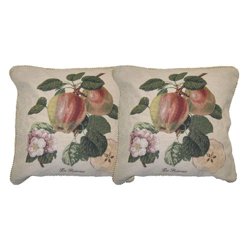 DaDa Bedding Splendor of Apple Woven Decorative Pillow Cover (Set of 2)