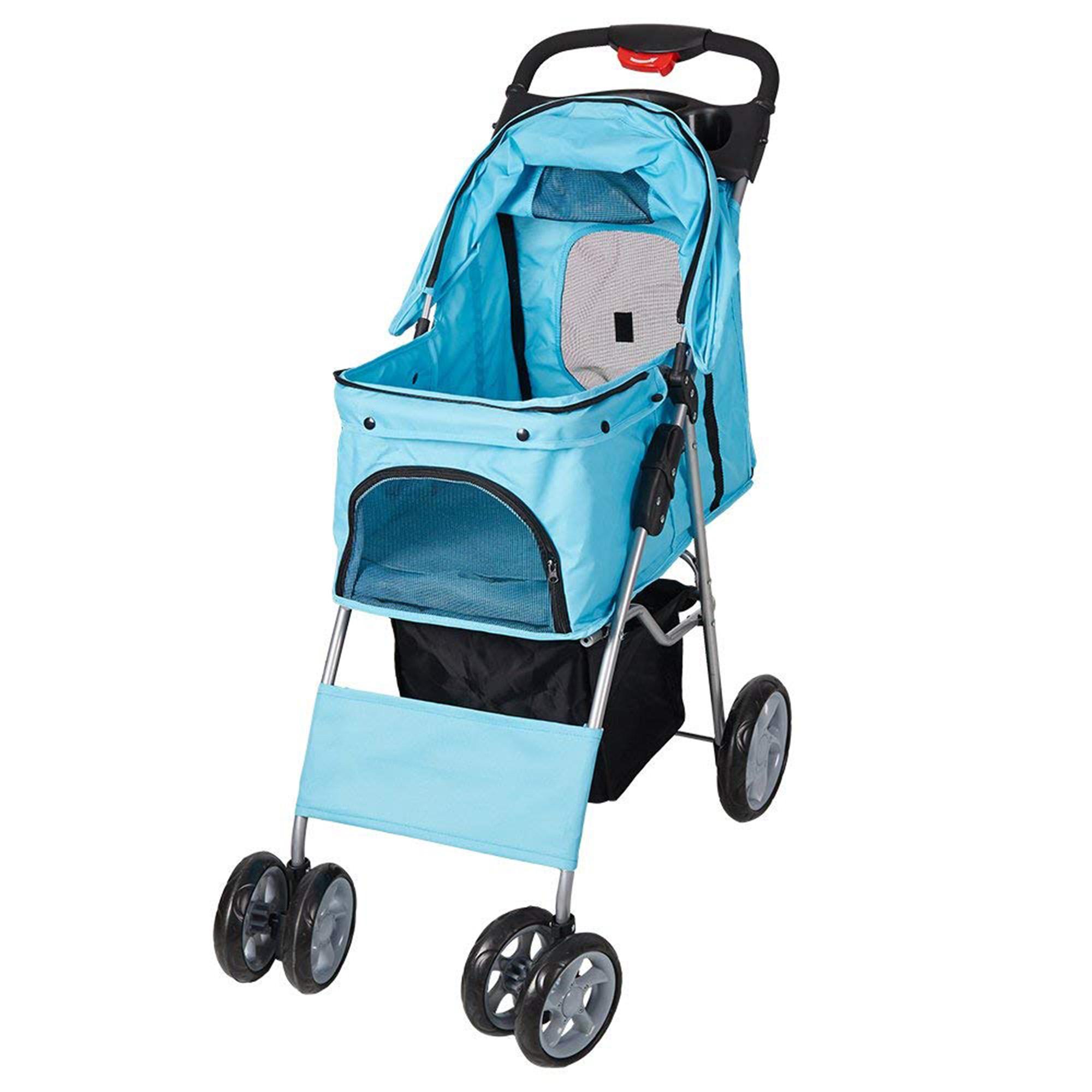 Karmas Product Pet Stroller Folding Pet Cat Carrier Travel Cart With Four Wheels, Black